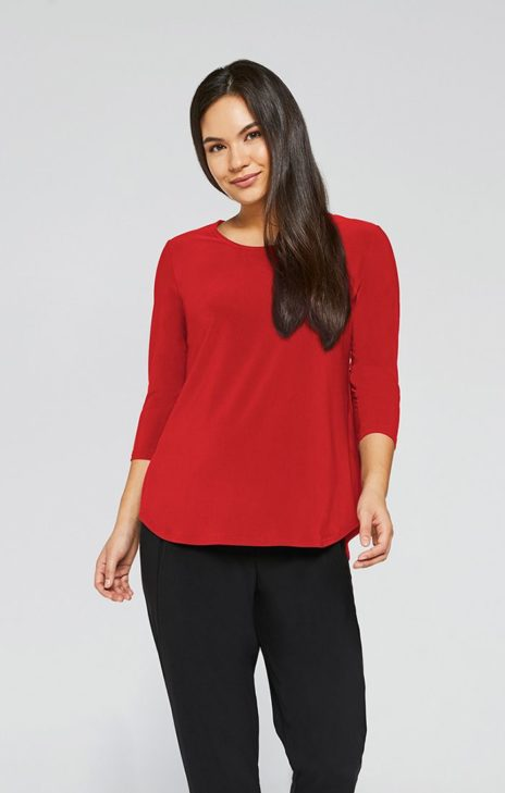 GO TO CLASSIC T RELAX, 3:4 SLV PLUS SIZE RED